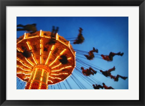 Framed Adults Riding a Carnival Swing Game Print