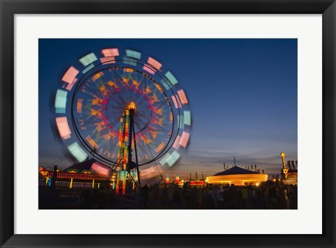 Framed Fast Motion Red and Blue Lit Ferriswheel Print