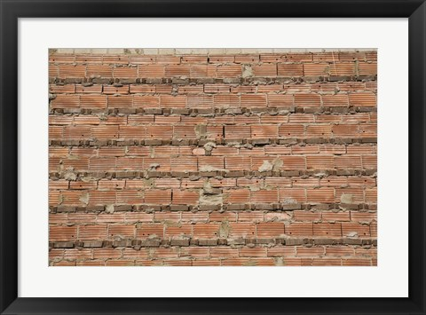 Framed Brick Wall with Exposed Cement Print