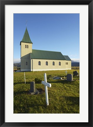 Framed Old Church in a Cemetery Print