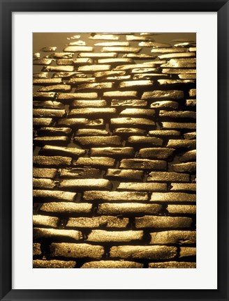 Framed Cobblestone Path after Rainfall Print
