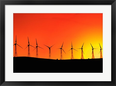 Framed Windmills at Sunset Print