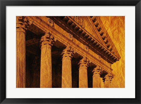 Framed Golden Lit Pillars Print