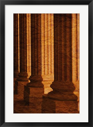Framed Close up of Golden Lit Pillars Print
