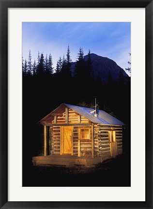 Framed Small Lit Up Cottage in Forest Print