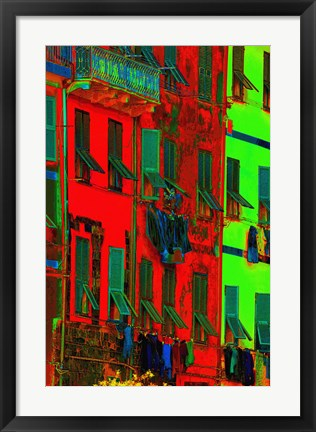 Framed Red and Green Exposed Building with Windows Print
