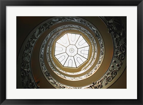Framed Skylight at the Top of Spiral Staircase Print