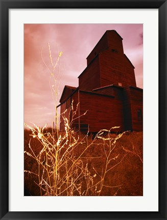 Framed Farmhouse Against a Red Sky Print