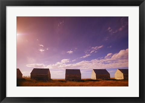 Framed Sheds in a Grass Field Print
