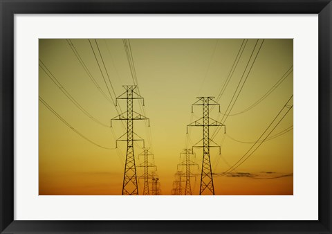 Framed Electrical Towers against Yellow Sunrise Print