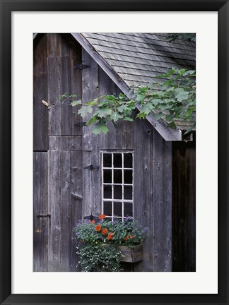 Framed White Window on an Old Wooden House Print