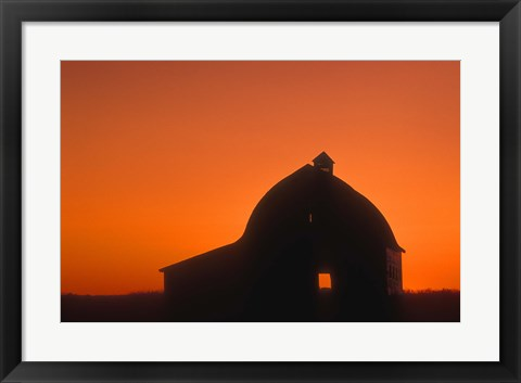 Framed Shadowed Building Against Gorgeous Sunset Print