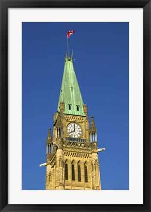 Framed Clock Tower with Canadian Flag Print