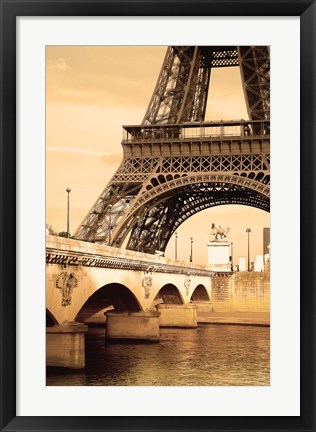 Framed Bottom of Bronzed Eiffel Tower Print