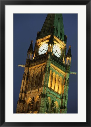 Framed Watch Tower in London at Night Print