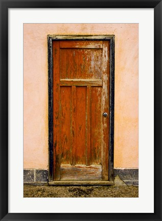 Framed Rusted Door with Cracked Wood Panel Print