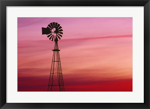 Framed Wind Tower Against Fiery Sunset Print