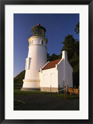 Framed White Lighthouse against Mountain Range Print