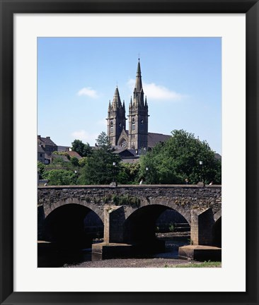 Framed Cobblestone Bridge with Clock Tower Print