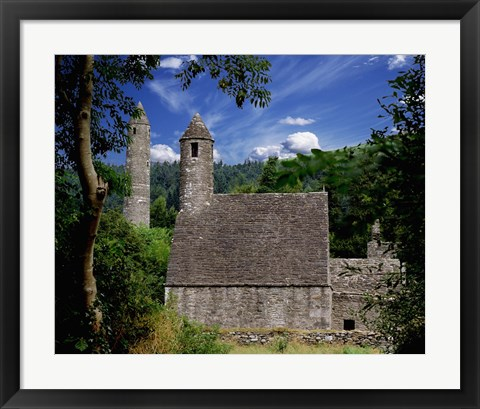 Framed Stone Built House Surrounded by Greenery Print