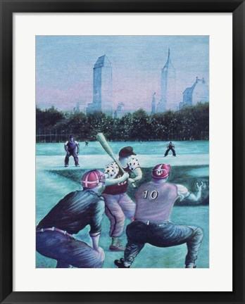 Framed Baseball Players Print
