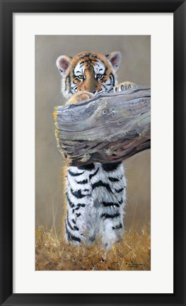 Framed Tiger Cub Standing Up Print