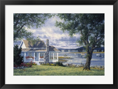 Framed Cottage In The Islands Print