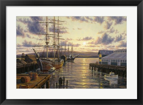 Framed Harbor Sunset Print