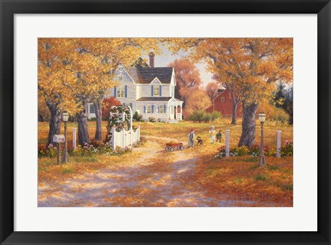 Framed Autumn Leaves And Laughter Print