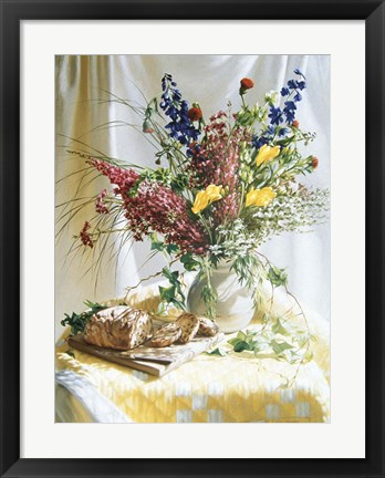 Framed Wild Flowers And Yellow Quilt W/Bread Print