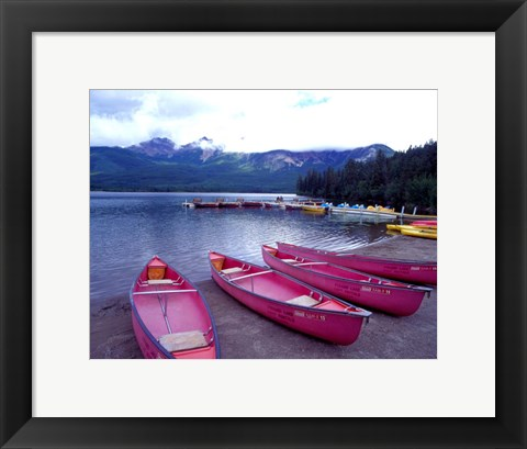 Framed Four Pink Boats, Canadian Rockies 06 Print