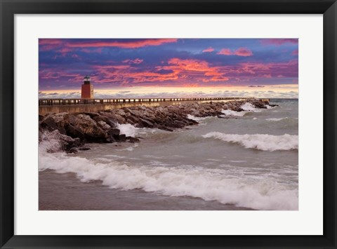 Framed Lighthouse at Sunset, Michigan 09 Print