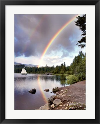 Framed Sailing Under Rainbows, Oregon 97 Print