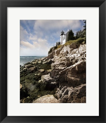Framed Bass Harbor Head Lighthouse & Foothill Print