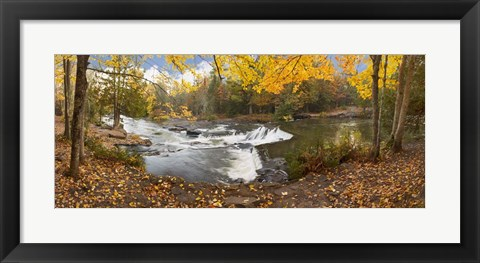 Framed Bond Falls In Autumn Panorama #2, Bruce Crossing, Michigan 12 Print