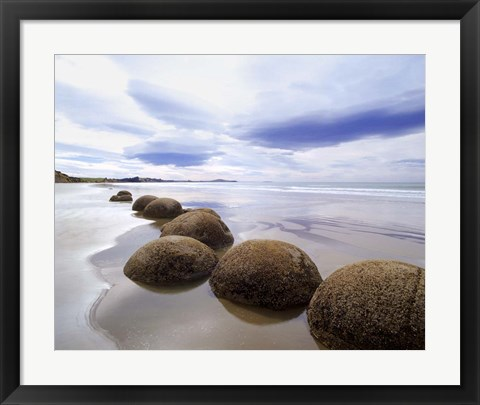 Framed Moeraki Boulders #3, New Zealand 98 Print