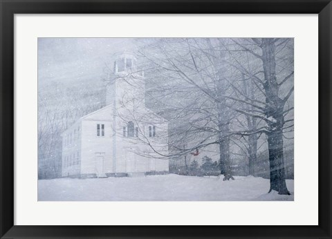 Framed Winter  Church Yard Print