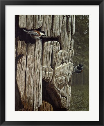 Framed Chickadees On Totem Print