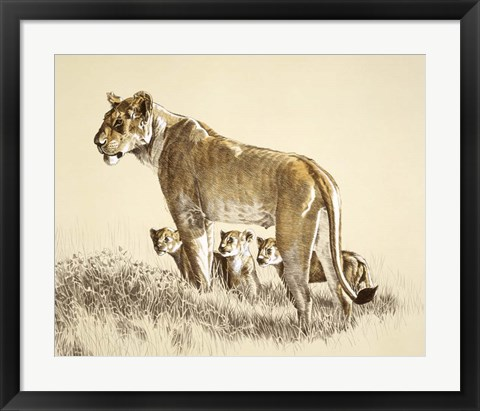 Framed Lioness And Cubs Print