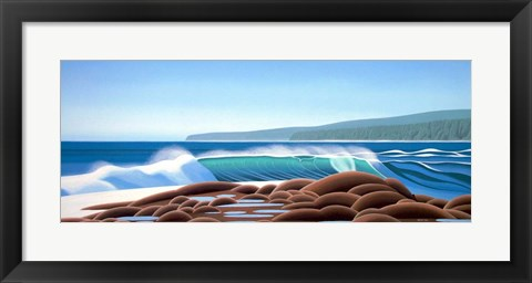 Framed Surf On The Rocks Print