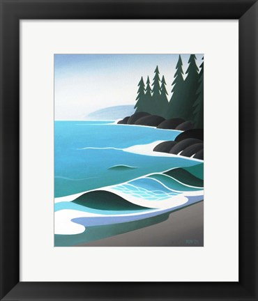 Framed Waves On The Sand Print