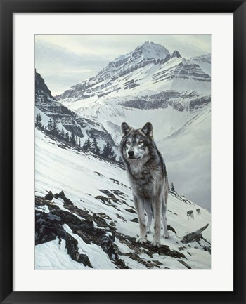 Framed Winter Crossing - Wolf Print