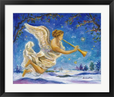 Framed Christmas Angel - Joy to the World Print