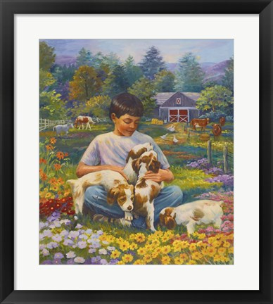 Framed Friends on the Farm Print