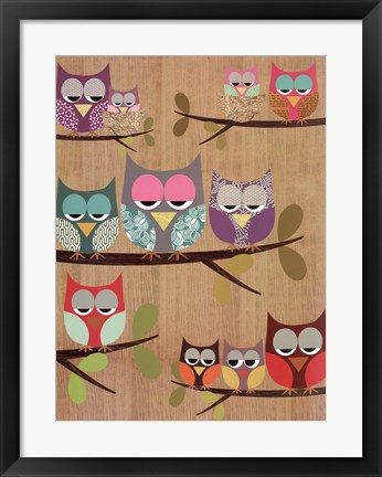Framed Owl Tree I Print