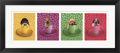 Framed Four Puppies Print