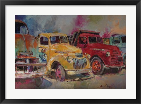 Framed Trucks In Montrose Print