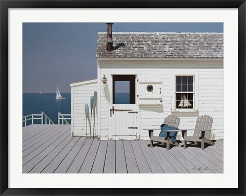 Framed Dock House Print