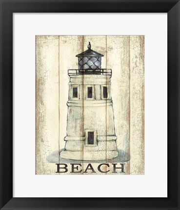 Framed Light House White Print