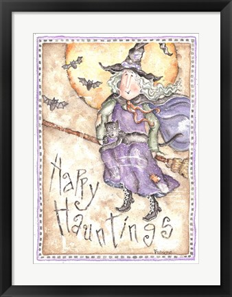 Framed Happy Hauntings Witch Print